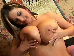 Tera cock rubs up her fat tits