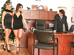 Brooke and Penny fuck their boss with their big tits for a bonus