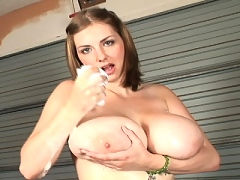 Young Christy Marks soaps up her massive tits